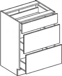 D60S3 dolní skříňka se zásuvkami PREMIUM de LUX hruška