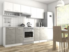 Kuchyňská linka Luigi II 240 cm, bílá/beton