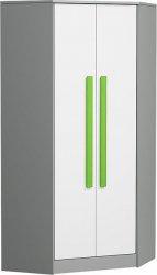 Rohová šatní skříň GYT 2 antracit/bílá/zelená