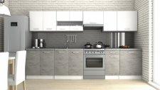 Kuchyňská linka Luigi III 320 cm, bílá/beton