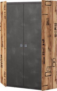 Rohová šatní skříň DRAKE 17 smrk/steel