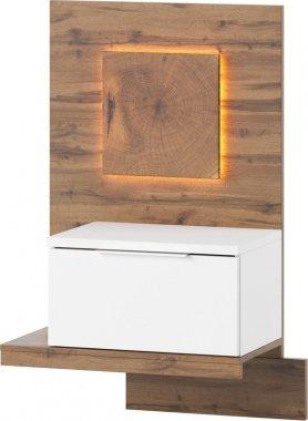 Noční stolek LIVORNO 68 levý, dub wotan/bílá