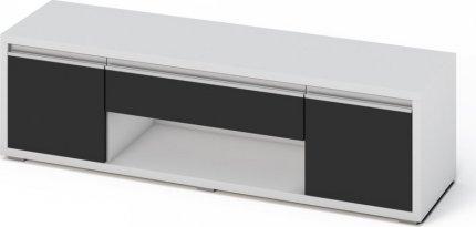 Televizní stolek SOLETO bílá/černý lesk