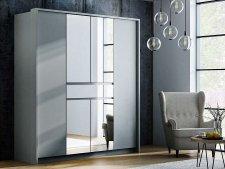 Šatní skříň RIJEKA 200 platinum/zrcadlo