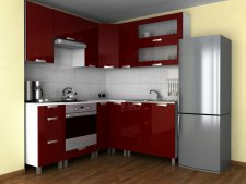 Rohová kuchyňská linka Grepolis MDR bordo lesk