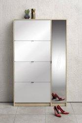 Botník Flap 009 4KL1D dub sonoma/bílý lesk/zrcadlo