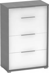 Komoda se čtyřmi šuplíky, grafit / bílá, RIOMA TYP 22