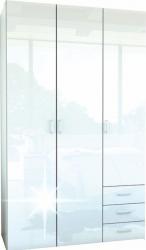 Šatní skříň GWEN 70427, 3 - dveřová, bílá lesk