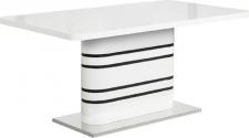 Rozkládací jídelní stůl TUBAL, bílá lesk/černé pásky