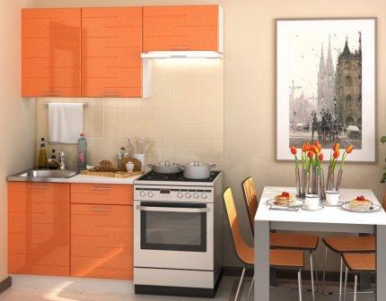 Kuchyňská linka TECHNO 160 cm, oranžová metalic