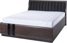 Masivní postel PORTI P-76, 160x200, dub čokoládový/hnědá Carabu 33