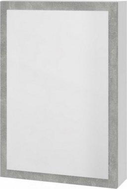 Skříňka HOLLY se zrcadlem bílá/šedý mramor