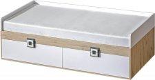 Dětská postel NIKO 14, 90x200 s úložným prostorem, dub jasný/bílá/popel