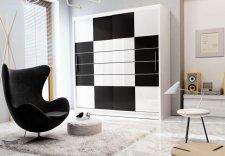 Šatní skříň FRANKLIN 203 bílá/černá