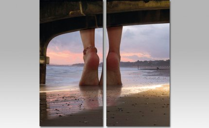 Obraz OBK003 MDF, motiv: nohy na pláži