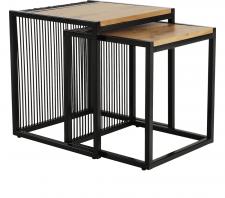 Konferenční stolek RIMBO set 2 kusů, dub/černý kov