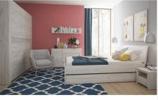 Ložnice ANGEL bílá/craft (skříň, postel 160, 2 noční stolky)