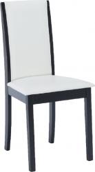 Dřevěná jídelní židle VENIS NEW, bílá ekokůže/wenge